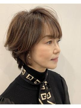 40代50代60代大人小顔ショート☆白髪カバーハイライトカラー