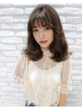 【Real 遠藤眞実】外国人風グレージュカラーフリンジバング☆☆ カントリー.55