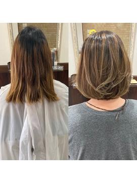 [relight尼崎]ハイトーンの白髪染めを叶えるハイライトカラー
