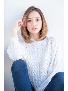 【東 純平】ラフ小顔ひし形ミディ バレイヤージュ