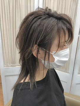 【コトノハ】くすみカラーロングウルフ涼しげヘアクールヘア