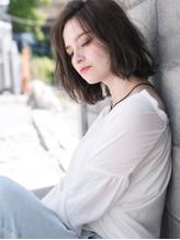 ナチュラル×透け感ルージー☆こなれニュアンスな美ラインボブ フェミニン.56