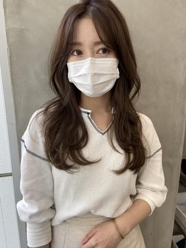 【SOCO】ピンクベージュ韓国風ロングレイヤースタイル