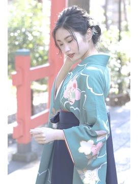 ○【自由が丘Neolive 】卒業式 袴着付けヘアセット ¥13200着物