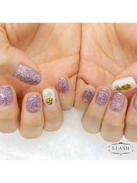 【SLASH】ラメワンカラー、パイナップルデザイン