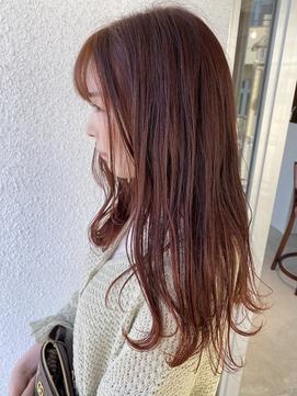 ワンレングス×春カラー