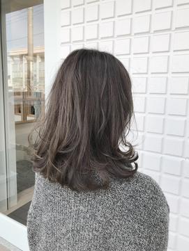 暗髪でも透明感♪/ダークグレージュ/ミディアムレイヤー