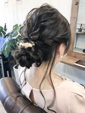 【☆】結婚式ルーズシニヨンヘアアレンジ・ヘアセット 着物ヘア