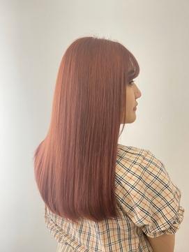 ピンクブラウン/ストレート/髪質改善/10代・20代