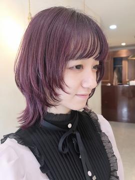 ゲストスナップ 松本 ウルフカット×ピンク系カラー