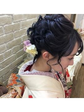 着物スタイル♪清楚な可愛さの成人式ヘアセット☆