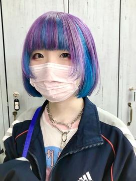 ★ピンクラベンダー/クリアブルーのインナーカラーボブ★