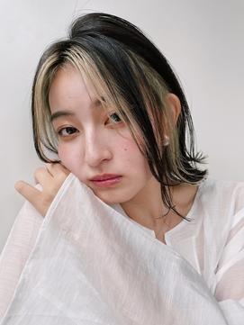 【GARDEN西川】小顔前髪・Aラインボブ・黒髪インナーカラー
