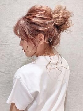 RIKAお団子アレンジ シニヨン まとめ髪 浴衣 結婚式 二次会