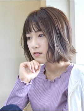 【コトノハ】髪質改善春カラーラベンダーカラー小顔 外ハネボブ