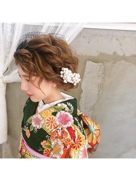 着物スタイル♪レトロモダンで人と差をつける成人式ヘアセット☆