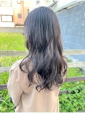 【わだロング】黒髪×デジタルパーマ