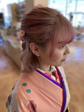 〈wave小豆餅店〉袴卒業式ハーフアップフラワーヘアアレンジ