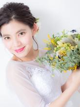 【ブライダルヘア】お花のベアードがかわいいヘアアレンジ ウェディング.57