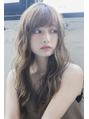 ひし形小顔似合わせカットデジタルパーマアッシュブラウン美髪