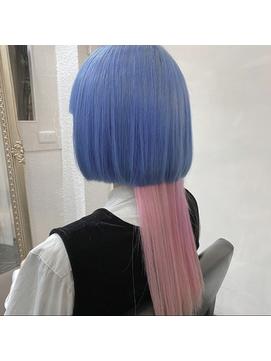 【D&T hair 高杉大輔】ホワイトブルー ホワイトピンク 派手髪