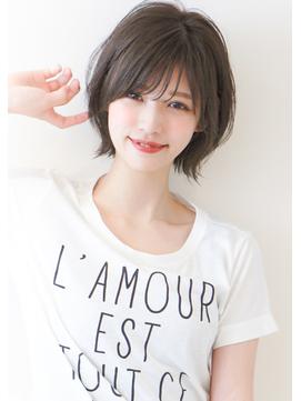 大人可愛い小顔外ハネショートボブ☆オリーブカラー20代30代40代