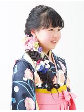 【ジュニア袴ヘア】小学校卒業式フィッシュボーンお姫様風ヘア .3