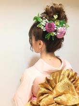 振袖 生花の華やかお団子スタイル ウェディング.54