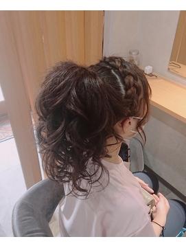 体育祭盛り髪セット/編み込みポニーテール