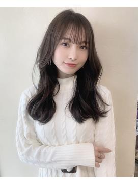 20代30代小顔フェミニンヘア/韓国風/ダークアッシュ/ストカール