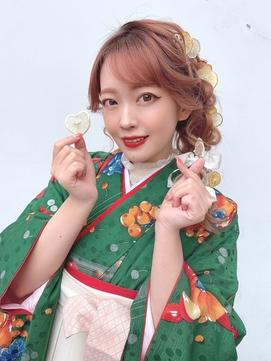 編みおろしh☆オリジナルヘアアクセ☆卒業式袴☆Hinaスタイル