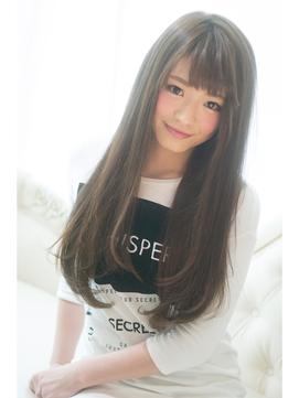 【Blanc】艶髪ナチュラルストレートロング#黒髪風#厚めバング