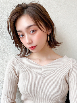 くすみカラー/ココアブラウン/前髪パーマ/韓国ヘア/くびれミディ