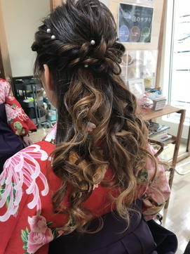 袴卒業式ハーフアップアレンジ【袴 浴衣 ヘアメイク 立川】