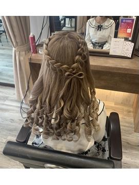 髪リボンハーフアップ