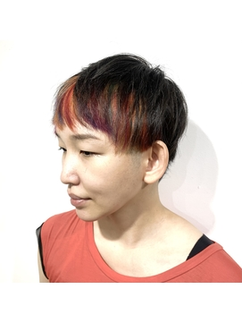 [prankster]前髪多色暖色インナーカラーのショートカット