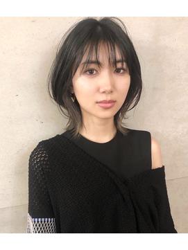 大人インナーカラーボブ/ウルフ/ウルフボブ/表参道/原宿