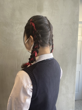 体育祭編み込みヘア
