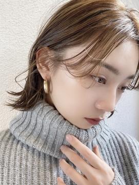 ☆小顔ハイライトカラー、セミウェットウェーブ外ハネボブ☆