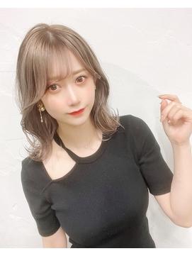 【丸山style】シースルーミディアム×ミルクティーブラウン