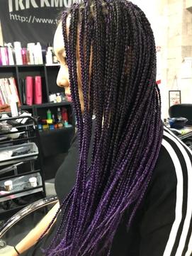 地毛を活かした黒から紫のグラデーションブレイズ