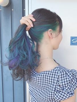 インナーカラー ブルー×グリーン
