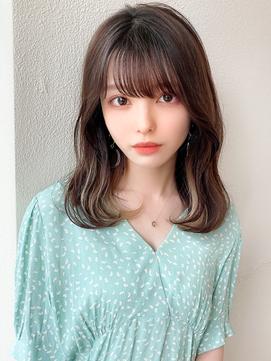 前髪パーマ/ホワイトアッシュ/エアリーミディ大人かわいいモテ髪