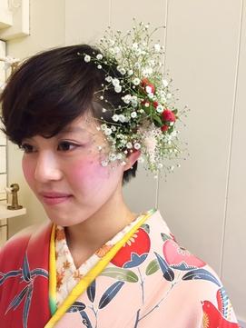 成人式☆生花で華やかショートスタイル♪