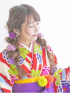 袴にぴったり☆編みおろしツインテール夏浴衣にも◎