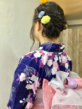 【浴衣レンタル】ガーリーな帯結びの浴衣スタイル♪ 正面写真