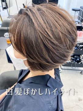 30代40代50代白髪ぼかしハイライト/小顔ショート/マロンベージュ