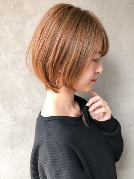 ★小顔ショートボブ/ハイライトカラー/オリーブカラー/前髪あり