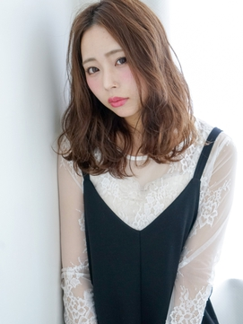 センターパート×おくれ毛バング☆大人セミディ