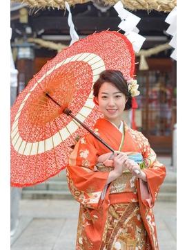 成人式の前撮り、甲子園駅界隈の神社にて。編み込みシニヨン